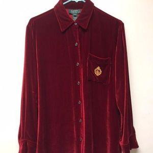 Womens Red Velvet Button Down Dress Shirt